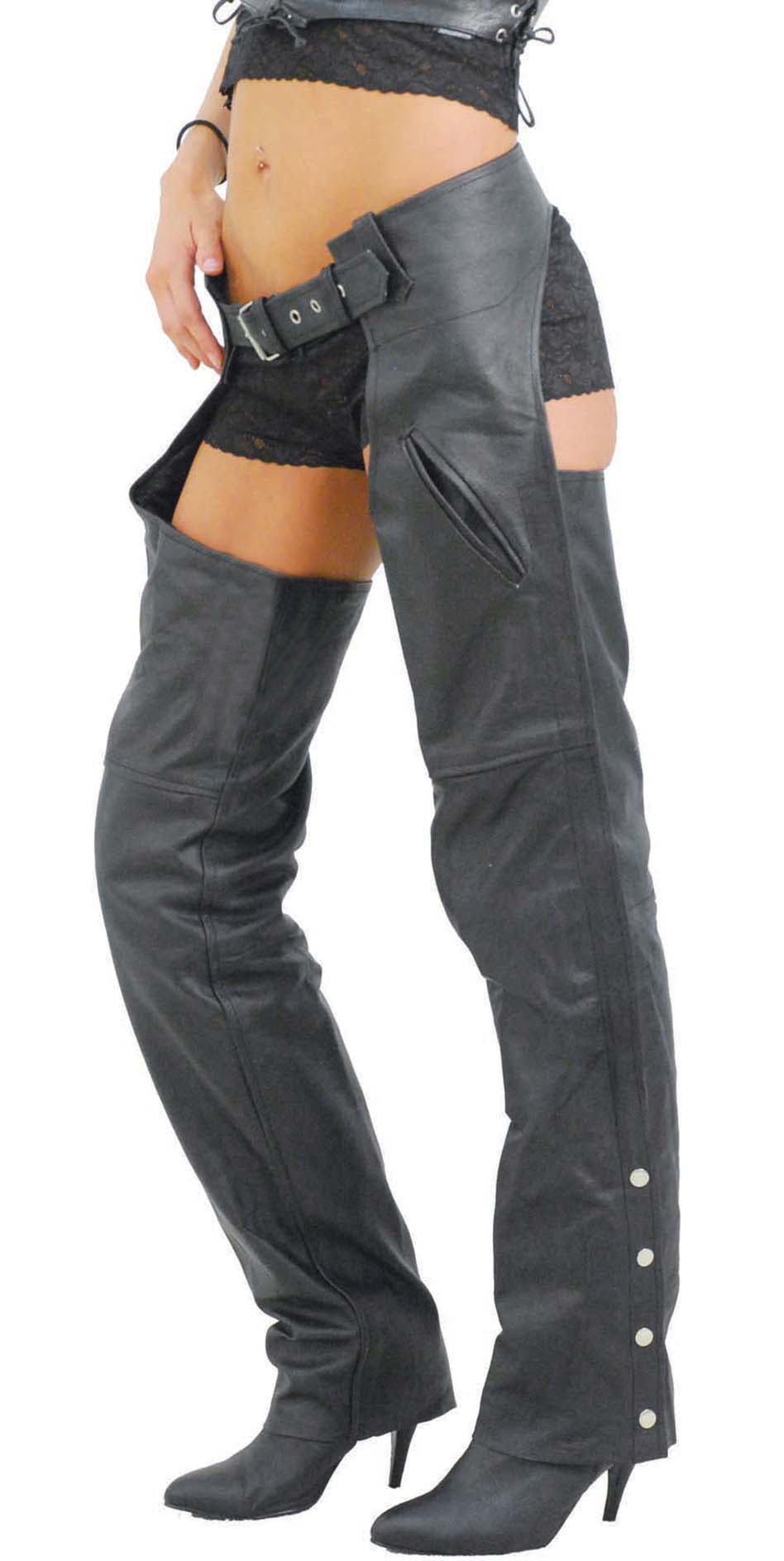 Lady biker wearing a pair of classic ladies leather chaps