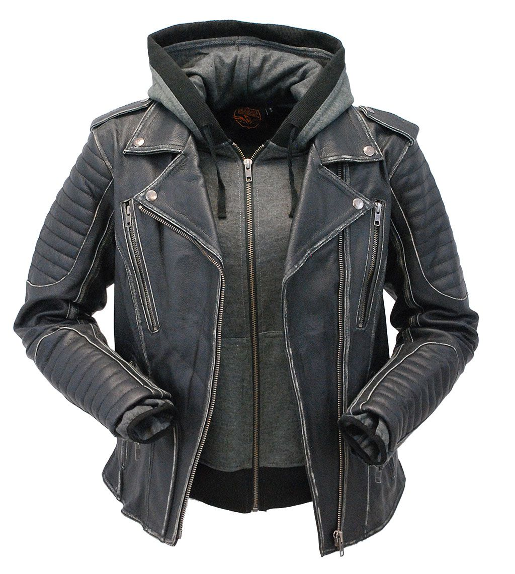 Leather jacket with hood made of antiqued vintage cowhide.