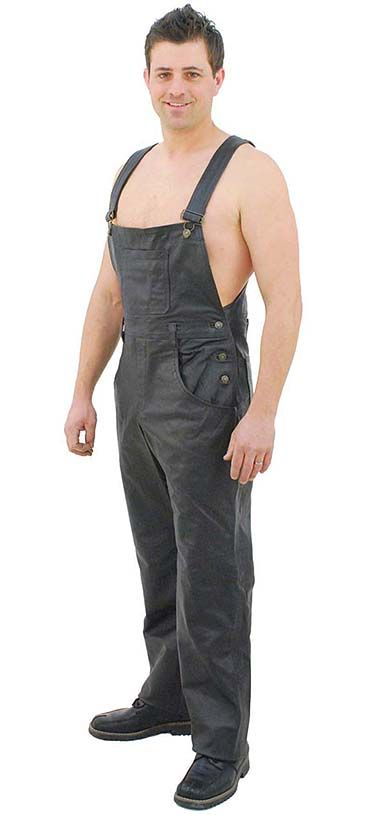 Unisex classic style black leather bib overalls with four front and two rear pockets.