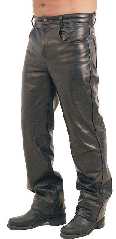 Black leather pants for men in premium medium weight buffalo leather.