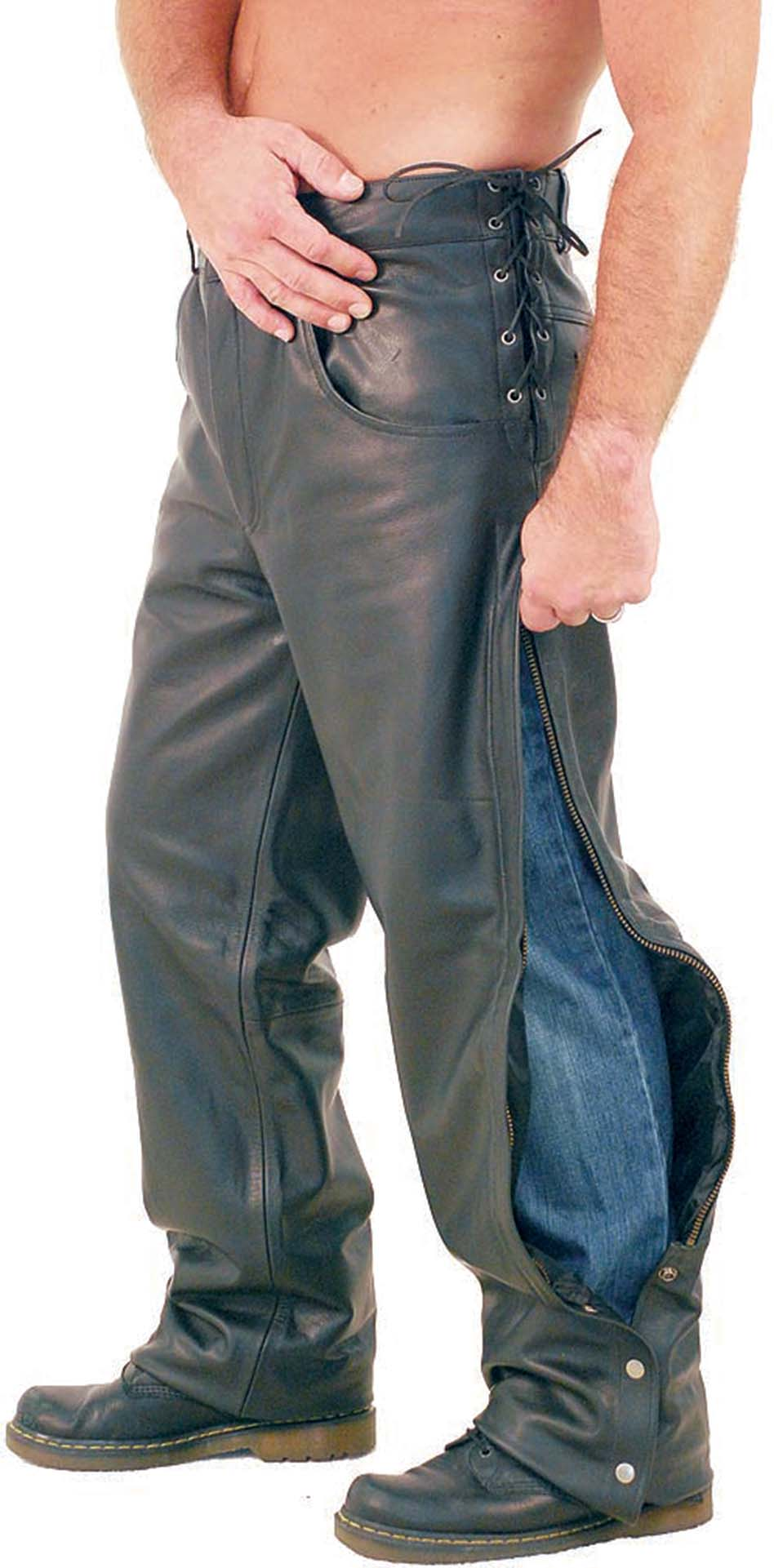 Side lace leather motorcycle overpants for men, a.k.a. chap pants with rawhide side lacing at waist to adjust for best fit.
